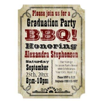 Old-Fashioned Vintage BBQ Graduation Party Invitation