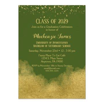 Olive Green Gold Graduation Party