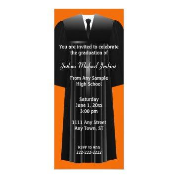 Orange and Black Mens Graduation Invitation