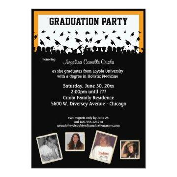 Orange And Black Silhouette Graduation Party Card