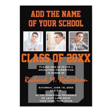 Orange and Black Team Colors Sports Graduation Invitations