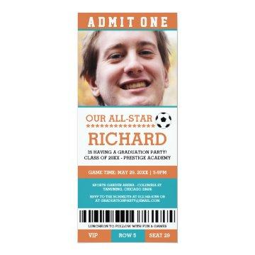 Orange and Blue Soccer Graduation Party Invites