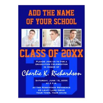 Orange and Blue Team Colors Sports Graduation Invitations