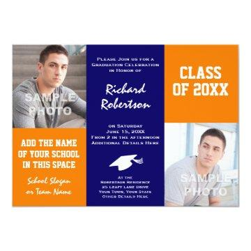 Orange and Navy Blue Custom Athlete Graduation Invitation