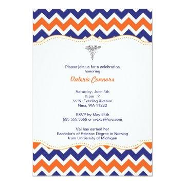 Orange and Navy Chevron Nurse Graduation Invite RN
