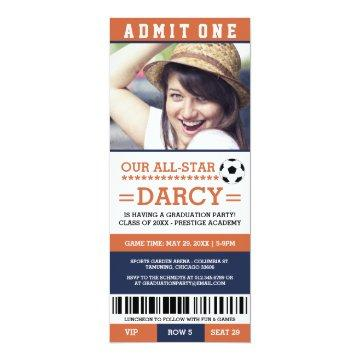 Orange and Navy Soccer Graduation Party Invites