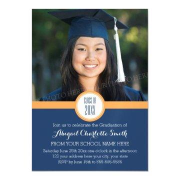 Orange Blue Modern Graduation Party Magnetic Card