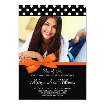Orange Bow Polka Dot Photo Graduation Announcement