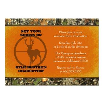 Orange - Camo Graduation Invitations