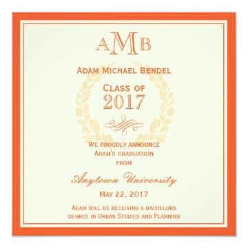 Orange Elegant Monogram Graduation Announcement