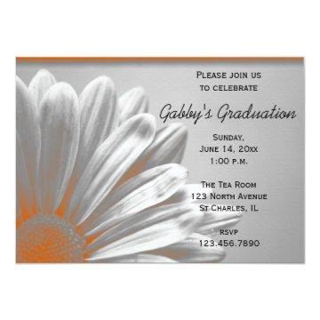 Orange Floral Highlights Graduation Party Invite