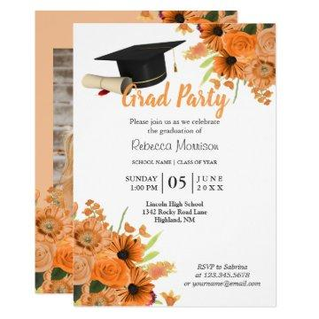 Orange Flowers Graduation Invitation