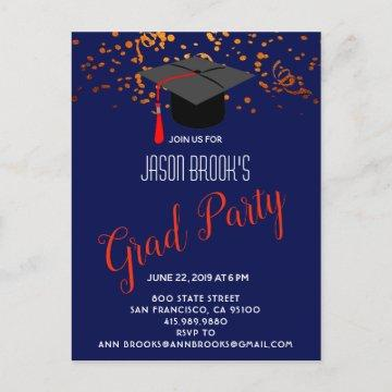Orange Gold Grad Cap Confetti On Navy Blue Party Announcement Postcard