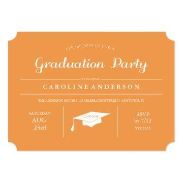Orange Modern Chic Graduation Invitation