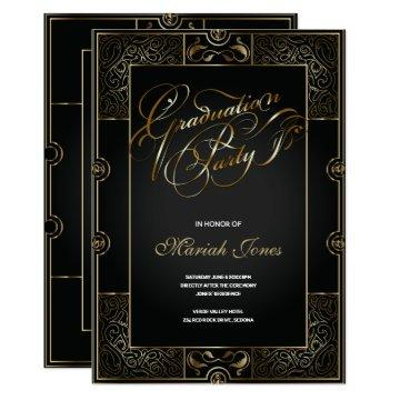 Ornate Black/Gold Art Deco GRADUATION