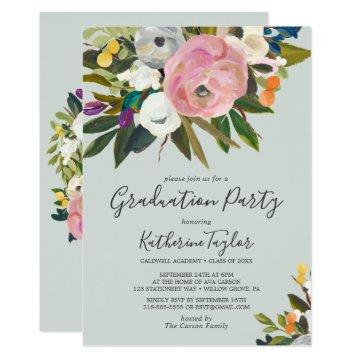 Painted Floral Graduation Party Invitation
