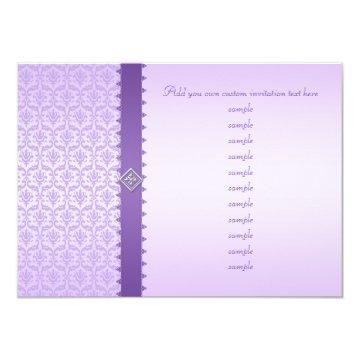 Pale Lilac Metallic Damask with Lace Edged Ribbon Card