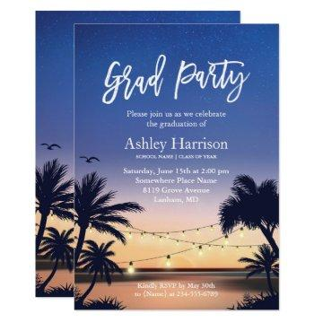 Palm Beach Sunset String Lights Graduation Party Invitation