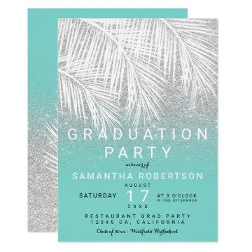 Palm tree silver turquoise graduation party