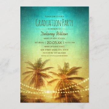 Palm Tree Sunset Beach Tropical Graduation Party Invitation