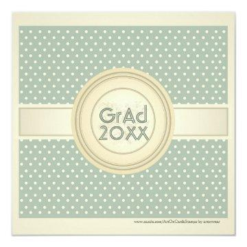 Pastel Green And Beige PolkaDots Grad Invite