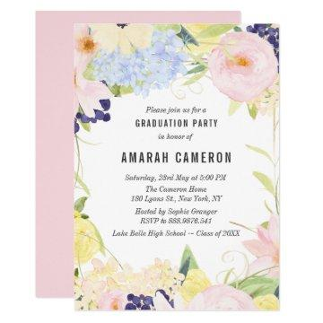 Pastel Spring Watercolor Flowers Graduation Party Card