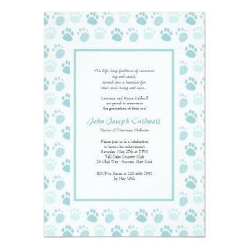 Paw Prints Blue Veterinary School Graduation Invitation