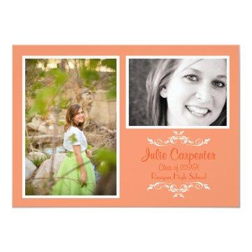 Peach 2 Photo Simple Collage - Grad Announcement