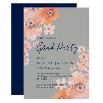 Peach and Navy Watercolor Floral Graduation Party Card