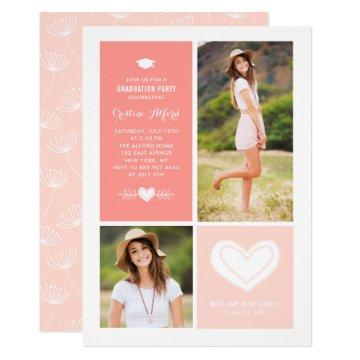 Peach Heart Doodles Photo Graduation Invitation