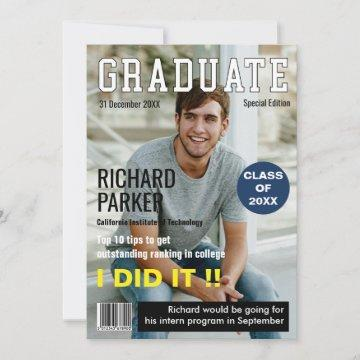 Personalized Magazine Style Graduation Thank You Card