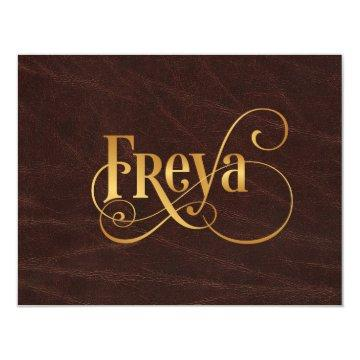 Personalized Swirly Script Freya Gold on Leather Card