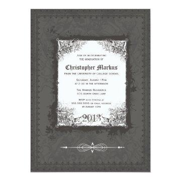 Pewter scroll frame graduation party