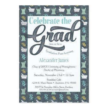 Pharmacist Graduation Party  Gray Aqua