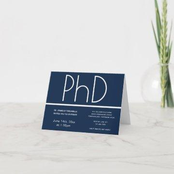 PhD degree Blue White Folded Graduation Party Invitation