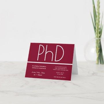 PhD degree Burgundy White Folded Graduation Party Invitation
