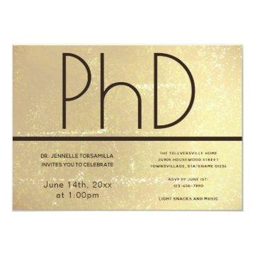 PhD degree Gold Brown Graduation Party Invitation