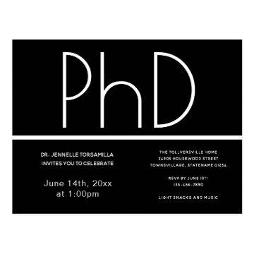 PhD degree Graduation Party Invitation Black Postcard
