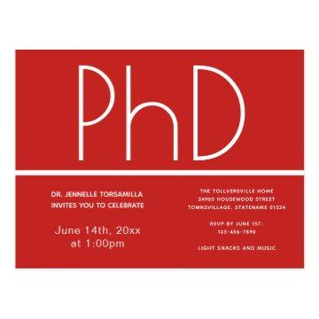 PhD degree Graduation Party Invitation Postcard