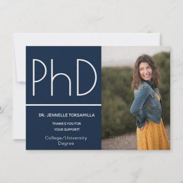 PhD degree Photo Announcement Blue White