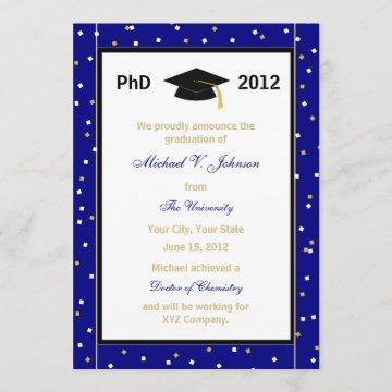 PhD Doctoral Announcement Blue Confetti