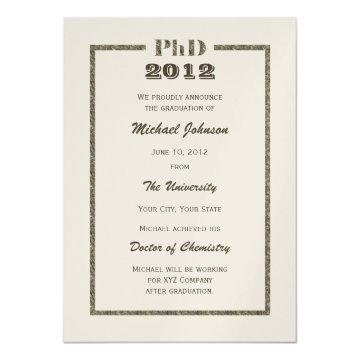 PhD Doctoral Graduation Announcement Metallic