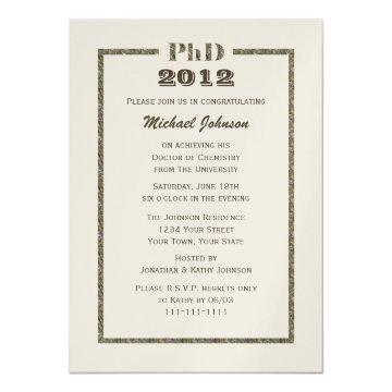 PhD Doctorate Graduation Invitation Metallic