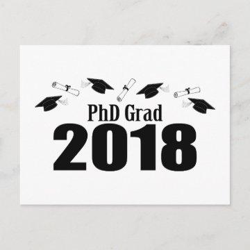 PhD Grad 2018 Postcard Party Invite (Black Caps)