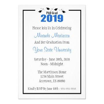 PhD Grad 2019 Graduation Invitation (Blue Caps)