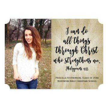 Philippians Christian Bible Verse Photo Graduation Invitation