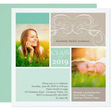 Photo Classic Scrolls Mint Graduation Party Invite