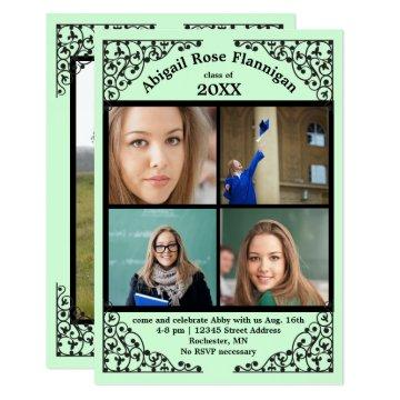 Photo Collage Mint Lace - 3x5 Grad Announcement