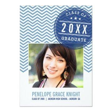 PHOTO GRAD INVITE bold chevron slate royal blue