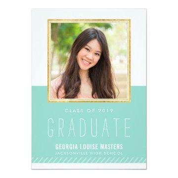 PHOTO GRADUATE minimal cute gold frame pastel mint Invitation